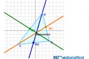 Cálculo de las medianas de un triángulo paso a paso